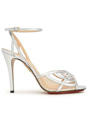 Charlotte Olympia Woman Cutout Metallic Leather Sandals Silver