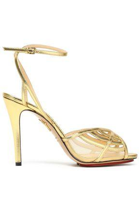 Charlotte Olympia Woman Cutout Metallic Leather Sandals Gold