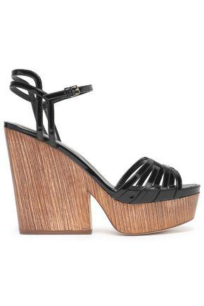 Sergio Rossi Woman Patent-leather Platform Sandals Black