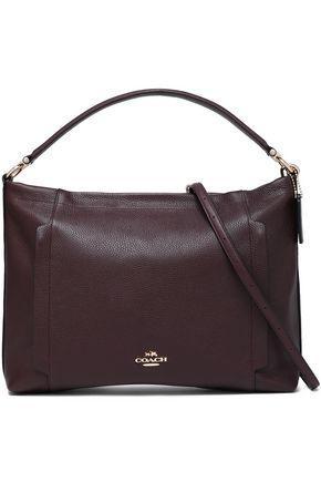 Coach Woman Pebbled-leather Shoulder Bag Burgundy