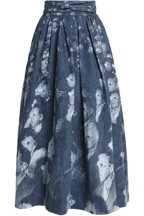 Marc Jacobs Woman Pleated Printed Denim Maxi Wrap Skirt Mid Denim