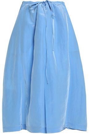 Jil Sander Woman Pleated Sateen Midi Skirt Light Blue