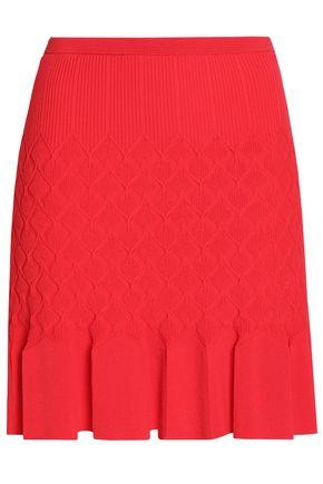 Sandro Woman Gregoria Fluted Crochet-knit Mini Skirt Red