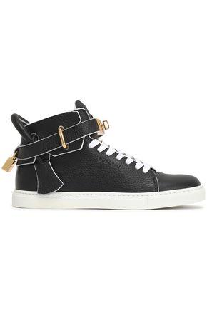 Buscemi Woman Embellished Textured-leather High-top Sneakers Black