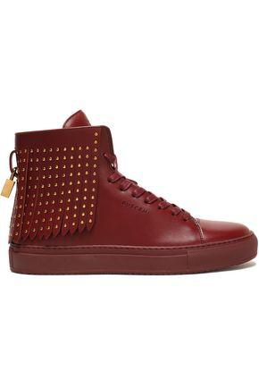 Buscemi Woman Studded Fringed Leather High-top Sneakers Burgundy