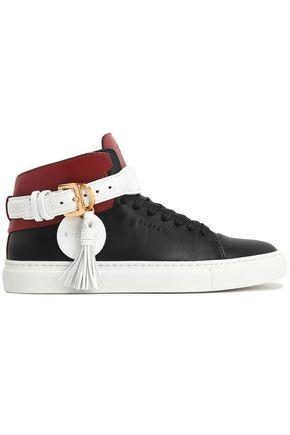 Buscemi Woman Tasseled Color-block Leather High-top Sneakers Black