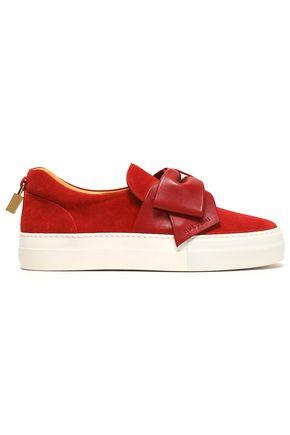Buscemi Woman Leather Bow-embellished Suede Slip-on Sneakers Crimson