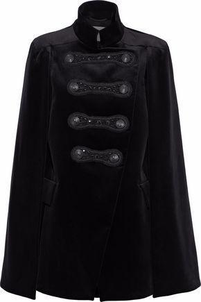 Pierre Balmain Woman Embellished Cotton-blend Velvet Cape Black