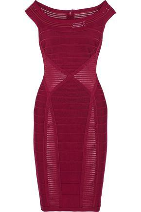 Herve Leger Woman Crochet Knit-paneled Bandage Dress Crimson