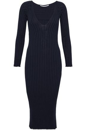 Rosetta Getty Woman Ribbed-knit Midi Dress Midnight Blue