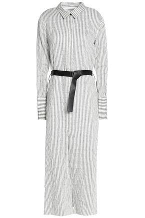 Halston Heritage Woman Belted Striped Linen-blend Seersucker Midi Shirt Dress Off-white