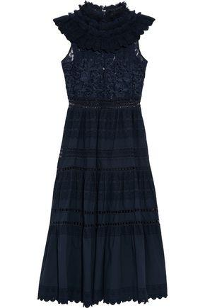 Sea Woman Ruffled Lace-paneled Broderie Anglaise Cotton Midi Dress Navy