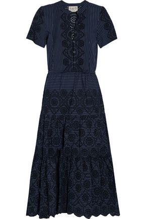 Sea Woman Striped Broderie Anglaise Cotton Midi Dress Navy