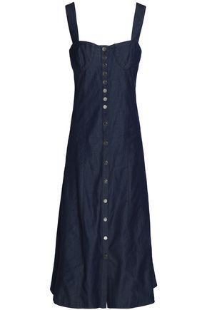 Tibi Woman Button-detailed Denim Midi Dress Dark Denim