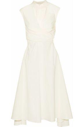 Belstaff Woman Gathered Cotton-poplin Midi Dress Off-white