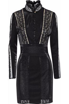 Pierre Balmain Woman Lace-paneled Stretch-knit Mini Dress Black