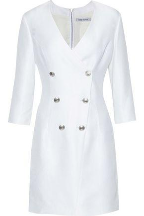 Pierre Balmain Woman Double-breasted Cotton-blend Jacquard Mini Dress Off-white