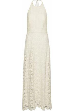 Theory Woman Crocheted Cotton Guipure Lace Halterneck Maxi Dress Ivory