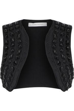Pierre Balmain Cropped Embellished Cady Vest In Black