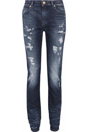 Pierre Balmain Distressed Mid-rise Slim-leg Jeans In Mid Denim