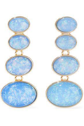 Kenneth Jay Lane Woman Gold-tone Stone Clip Earrings Light Blue