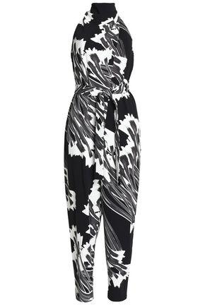 Halston Heritage Woman Printed Crepe Halterneck Jumpsuit Black