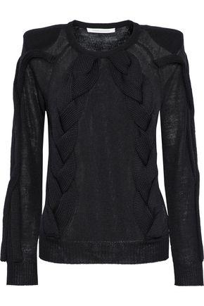 Pierre Balmain Cable-knit Wool-blend Sweater In Black