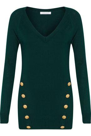 Pierre Balmain Woman Button-detailed Ribbed-knit Sweater Dark Green