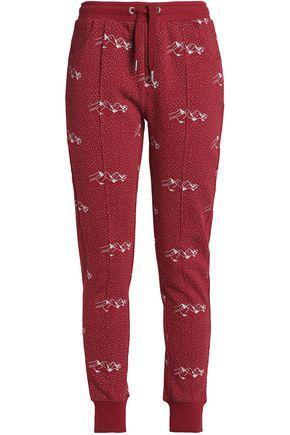 Zoe Karssen Woman Printed Cotton-blend Terry Track Pants Brick