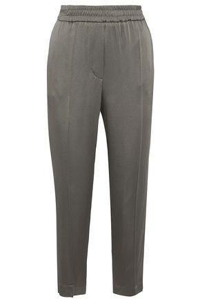 Brunello Cucinelli Cropped Striped Satin Tapered Pants In Grey Green