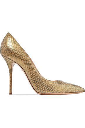 Casadei Woman Metallic Python-effect Leather Pumps Gold