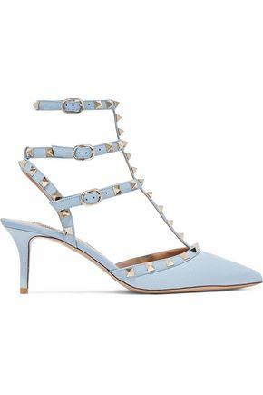 Valentino Woman Rockstud Pebbled-leather Pumps Sky Blue