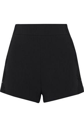 Pierre Balmain Woman Lace-trimmed Cady Shorts Black