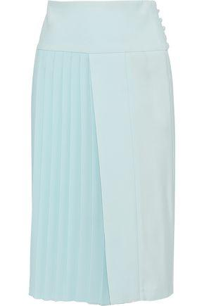 Adam Lippes Woman Asymmetric Pleated Cady Skirt Sky Blue