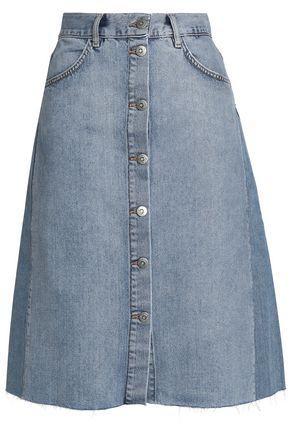 M.i.h Jeans Woman Two-tone Denim Skirt Light Denim