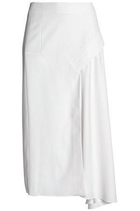 Tibi Woman Asymmetric Draped Twill Midi Skirt Ivory