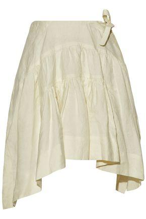 Jw Anderson Woman Pleated Linen Mini Skirt Cream