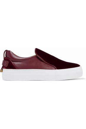 Buscemi Woman Velvet-paneled Leather Slip-on Sneakers Burgundy