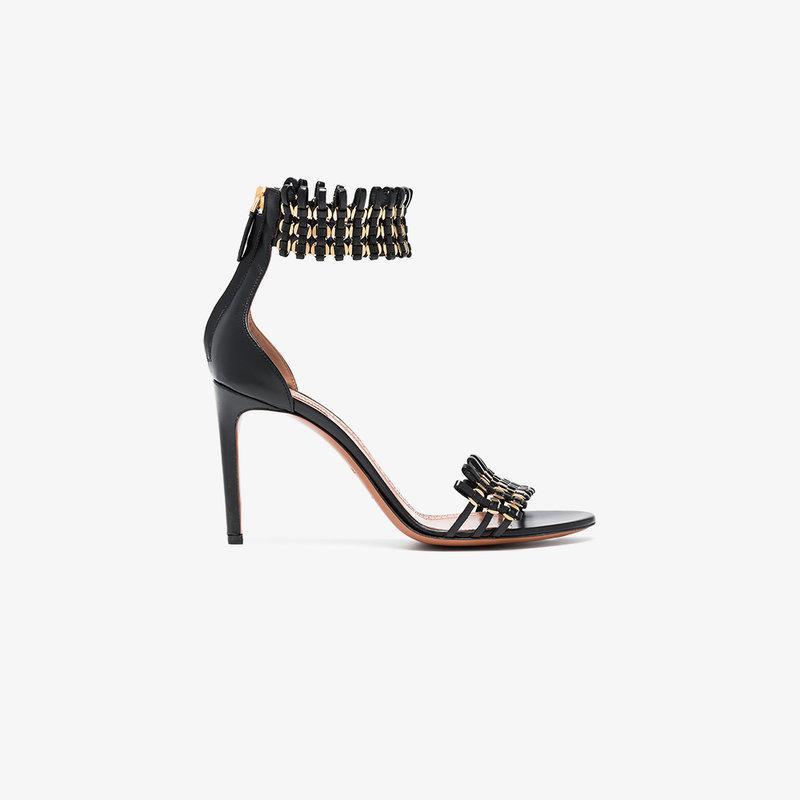 AlaÏa 90 Cage Sandals In Black