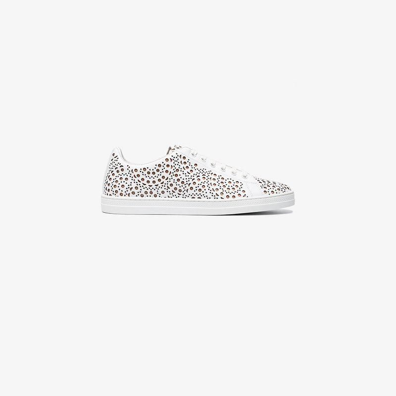 AlaÏa White Cut Out Leather Sneakers