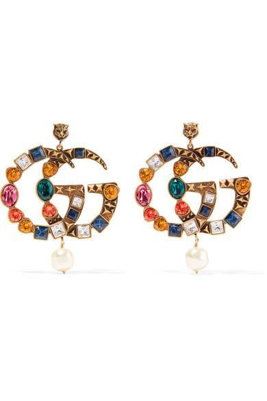 Gucci Gold-tone, Crystal And Faux Pearl Clip Earrings