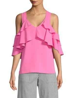 Trina Turk Sebastapol Ruffle Top In Flamingo