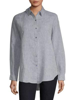 Eileen Fisher Organic Linen Button-down Shirt In Chambray