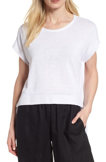 Eileen Fisher Organic Linen Side-Tie Short Poncho Top, Petite In White