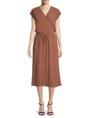 Eileen Fisher Wrap Front Jumpsuit In Russet