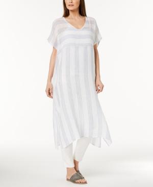 Eileen Fisher Organic Linen Striped Caftan, Regular & Petite In Chambray