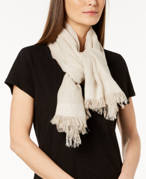 Eileen Fisher Sparkle Cotton-Blend Wrap Scarf In Natural