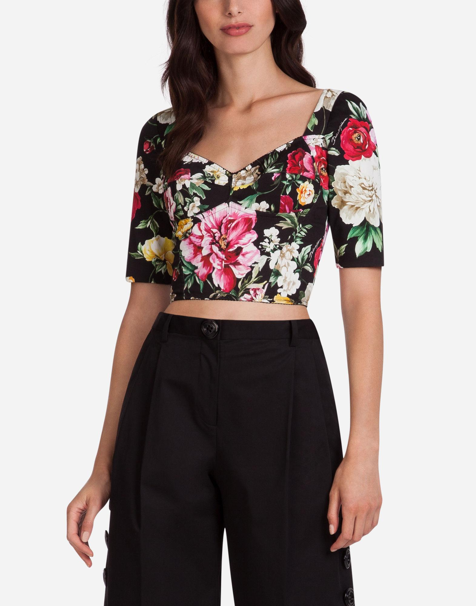 Dolce & Gabbana Bustier In Printed Cotton Drill In Black