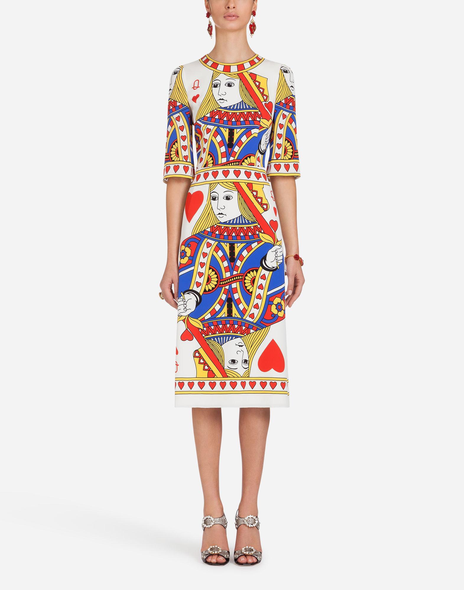 Dolce & Gabbana Printed Silk Dress In Cream