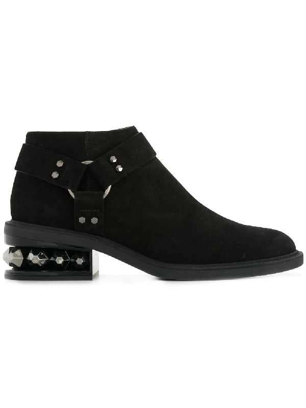 Nicholas Kirkwood Suzi Crystal-heeled Suede Ankle Boots In Black